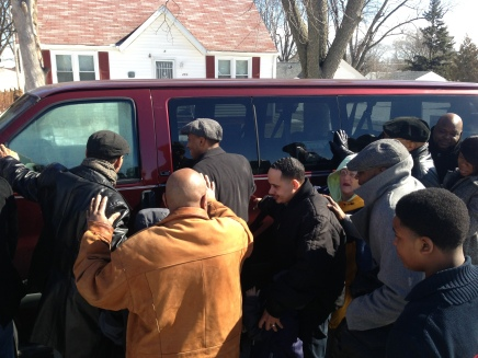 Grace City Church gathered to bless our new church van on 2/23/14. God is good!