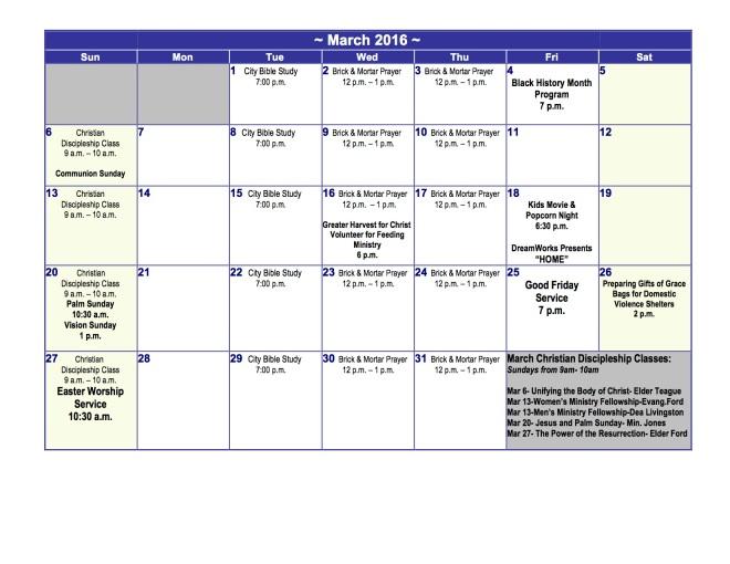 March 2016 Church Calendar