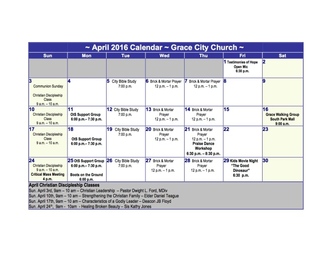 Grace City Church, April 2016 Calendar