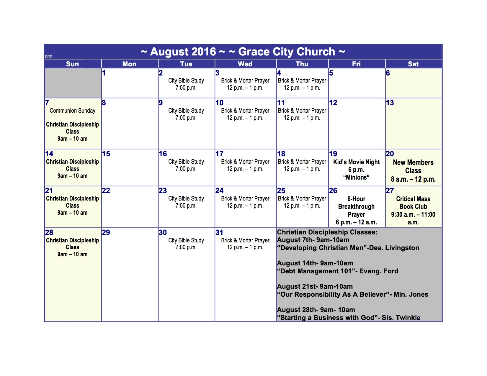 August 2016 Ministry Calendar of Events! | Grace City Church