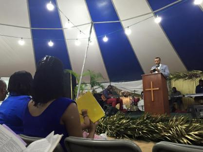 Pastor Ford preaching on a mission trip to St.Kitts and Nevis.