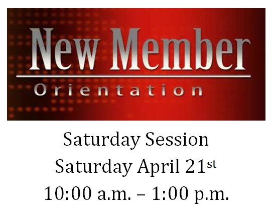 New Members Orientation-Saturday