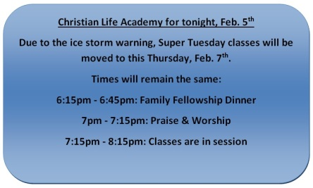 Academy Rescheduled 2-5-19